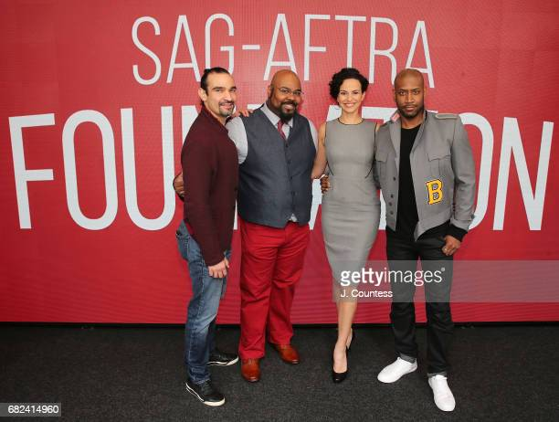 Actors Javier Munoz James Monroe Iglehart Mandy Gonzalez and Brandon Victor Dixon attend the SAGAFTRA Foundation Conversations On Broadway Hamilton...