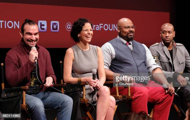 Actors Javier Munoz Mandy Gonzalez James Monroe Iglehart and Brandon Victor Dixon onstage during the SAGAFTRA Foundation Conversations On Broadway...