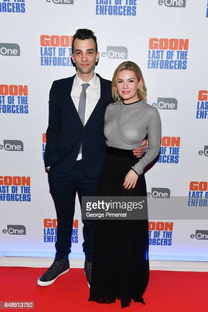 Actors Jay Baruchel and Elisha Cuthbert attend Goon Last Of The Enforcers Premiere at Scotiabank Theatre on March 6 2017 in Toronto Canada