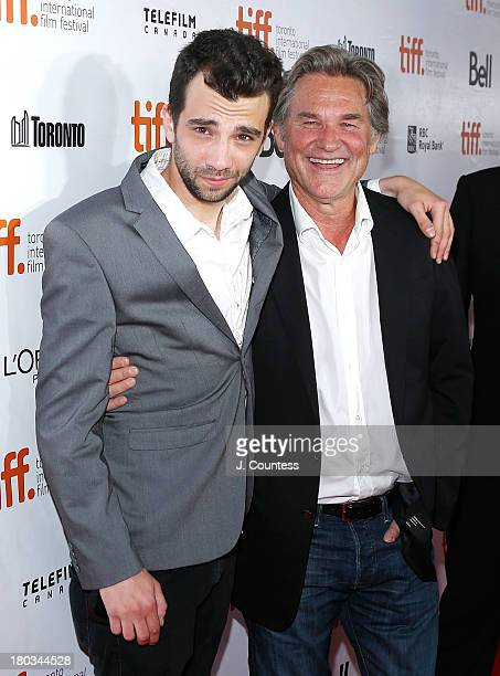 Actors Jay Baruchel and Kurt Russell attend the premiere of The Art of Steal at Roy Thomson Hall on September 11 2013 in Toronto Canada