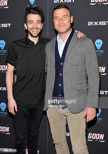 Actors Jay Baruchel and Liev Schreiber attend the Goon New York premiere at the SVA Theater on February 23 2012 in New York City