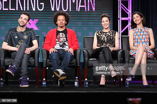 Actors Jay Baruchel Eric Andre Britt Lower and Katie Findlay of the television show 'Man Seeking Woman' speak onstage during the FX portion of the...