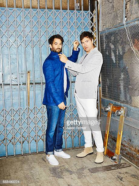 Actors Jay Duplass and Mark Duplass are photographed for Esquire Magazine in 2014