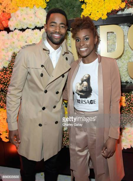 Actors Jay Ellis and Issa Rae at truTV's 'Upscale with Prentice Penny' Premiere at The London Hotel on March 21 2017 in West Hollywood California...