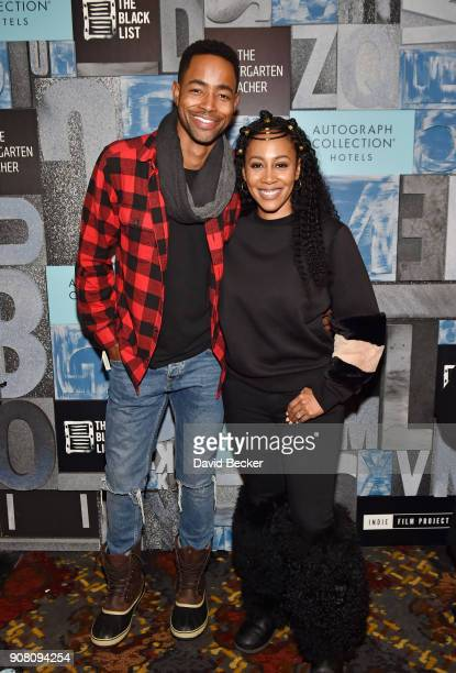 Actors Jay Ellis and Simone Missick attend the Power Women's Cocktail with Autograph Collection Hotels the Black List and Sundance Institute...