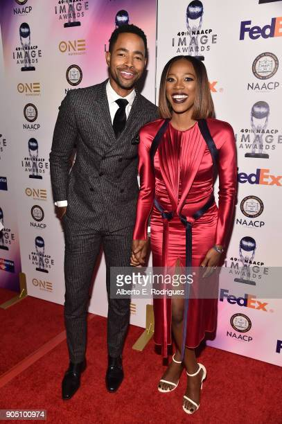 Actors Jay Ellis and Yvonne Orji attends the 49th NAACP Image Awards NonTelevised Award Show at The Pasadena Civic Auditorium on January 14 2018 in...