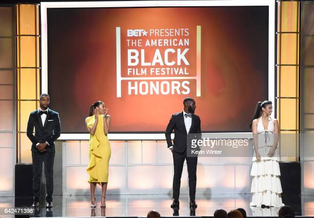 Actors Jay Ellis Kylie Bunbury Kofi Siriboe and Alexandra Shipp speak onstage during BET Presents the American Black Film Festival Honors on February...