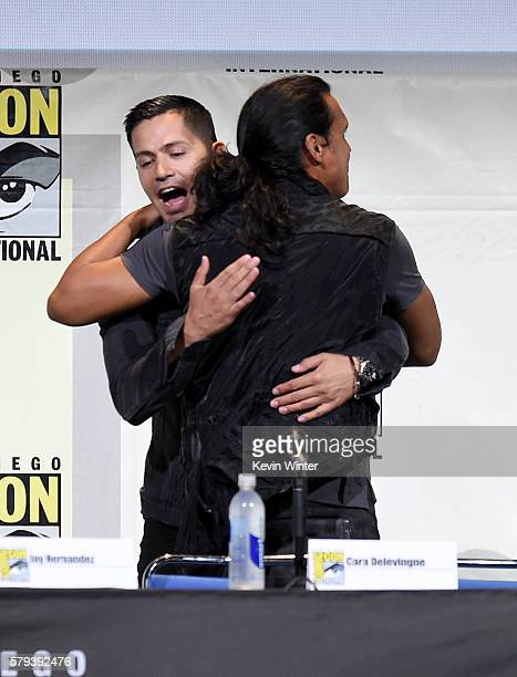 Actors Jay Hernandez and Adam Beach attend the Warner Bros Presentation during ComicCon International 2016 at San Diego Convention Center on July 23...