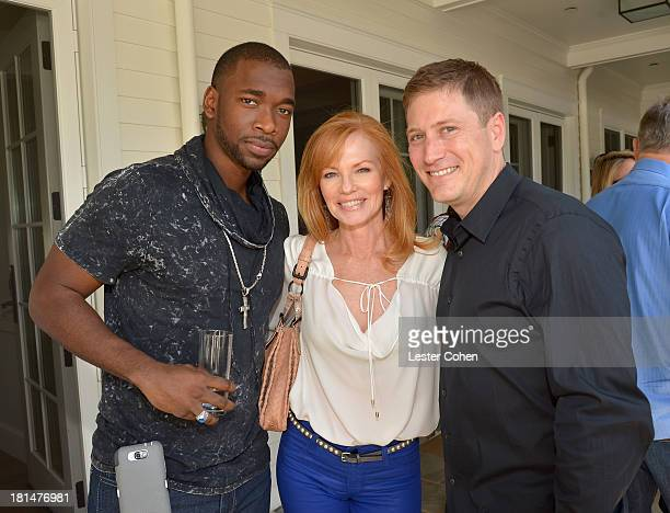 Actors Jay Pharoah and Marg Helgenberger and Carter Cohn Partner at ICM Partners attend the ICM Partners PreEmmy Brunch at the residence of Chris...