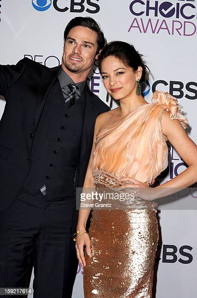 Actors Jay Ryan and Kristin Kreuk pose in the press room during the 2013 People's Choice Awards at Nokia Theatre LA Live on January 9 2013 in Los...