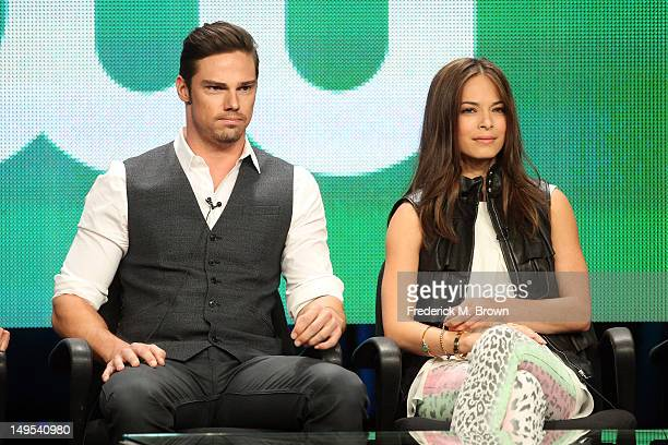 Actors Jay Ryan and Kristin Kreuk speak at the 'Beauty And The Beast' discussion panel during the CW portion of the 2012 Summer Television Critics...