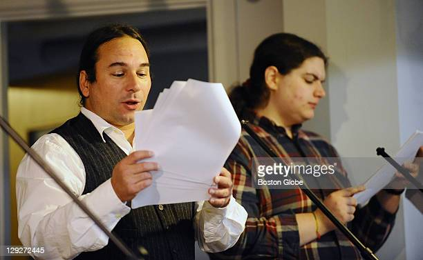 Actors Jay Sekora, left, plays the role of Alfred while Julia Lunetta plays the role of Old Man Whetherby during rehearsal for a Halloween radio play...