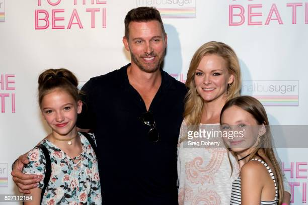 Actors Jayden Bartels Eric Martsolf Martha Madison and Avery Hewitt arrive for the To The Beat Special Screening at The Colony Theatre on August 6...