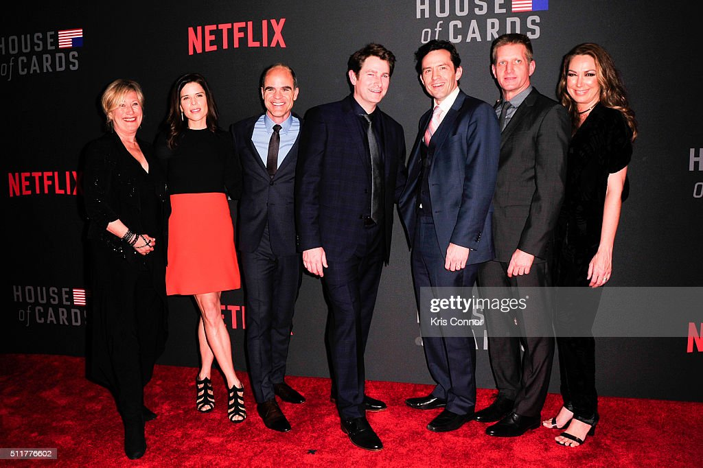 Actors Jayne Atkinson, Neve Campbell, Michael Kelly, Derek Cecil, Nathan Darrow, Paul Sparks and Elizabeth Marvel attends the 'House Of Cards' Season 4 Premiere at the National Portrait Gallery on February 22, 2016 in Washington, DC.