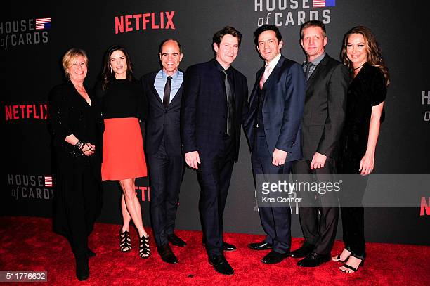 Actors Jayne Atkinson Neve Campbell Michael Kelly Derek Cecil Nathan Darrow Paul Sparks and Elizabeth Marvel attends the 'House Of Cards' Season 4...