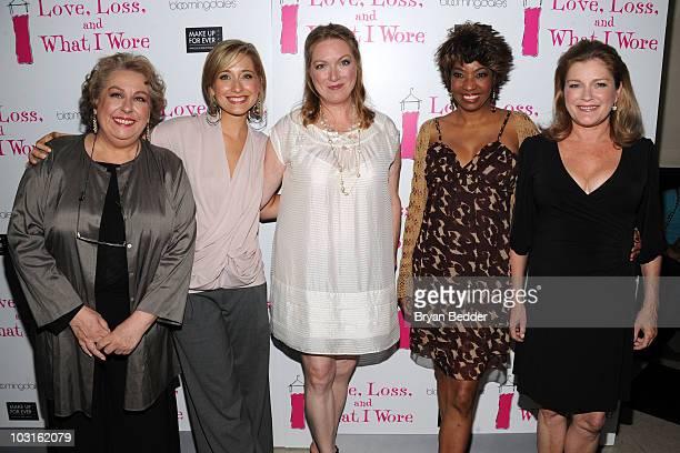 Actors Jayne Houdyshell Allison Mack Kristine Nielsen Adriane Lenox and Kate Mulgrew attend the Love Loss And What I Wore new cast member celebration...