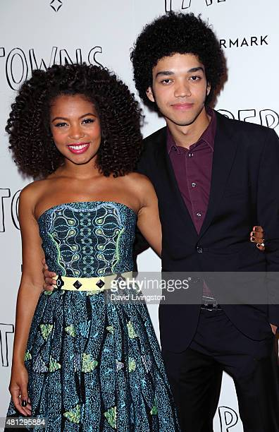 "Actors Jaz Sinclair and Justice Smith attend a screening of 20th Century Fox's ""Paper Towns"" at the London West Hollywood on July 18, 2015 in West..."