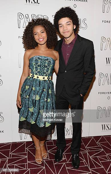 Actors Jaz Sinclair and Justice Smith attend WSJ Magazine And Forevermark Host A Special Los Angeles Screening Of Paper Towns at The London West...