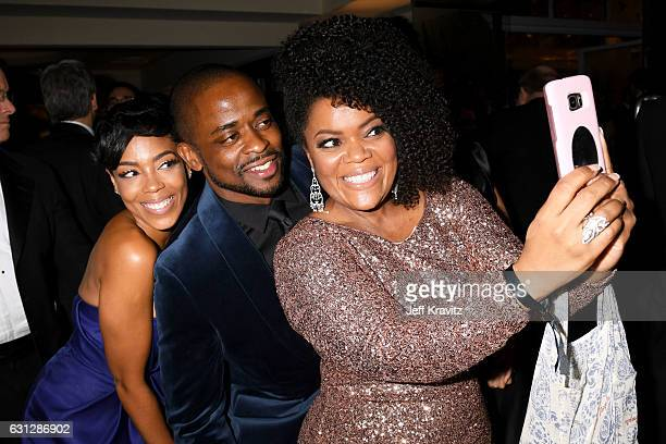 Actors Jazmyn Simon Dule Hill and Yvette Nicole Brown attend HBO's Official Golden Globe Awards After Party at Circa 55 Restaurant on January 8 2017...