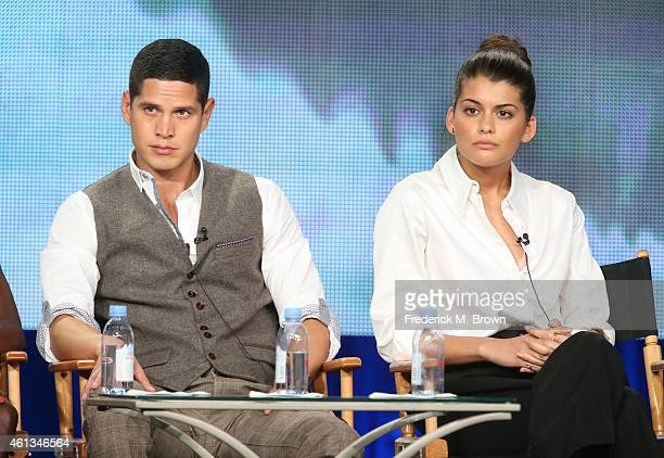 Actors JD Pardo and Sofia Black D'Elia listen onstage to the discussion during ÒThe MessengersÓ panel as part of The CW 2015 Winter Television...