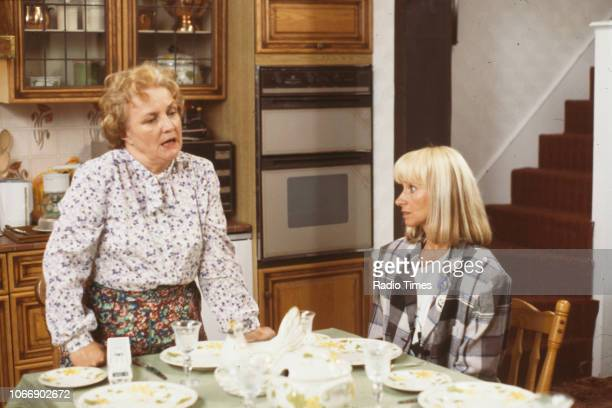 Actors Jean Boht and Rita Tushingham in a kitchen scene from the BBC television sitcom 'Bread' August 21st 1988