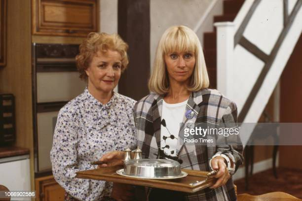 Actors Jean Boht and Rita Tushingham pictured on the set of the BBC television sitcom 'Bread' August 21st 1988