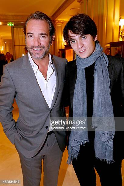 Actors Jean Dujardin and AlainFabien Delon at the Chaumet's Cocktail Party for Cesar's Revelations 2014 at Musee Chaumet followed by a dinner at...