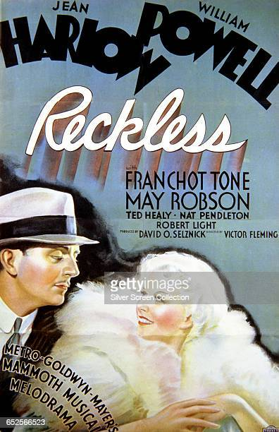 Actors Jean Harlow and William Powell on a poster for the MGM musical film 'Reckless' directed by Victor Fleming 1935