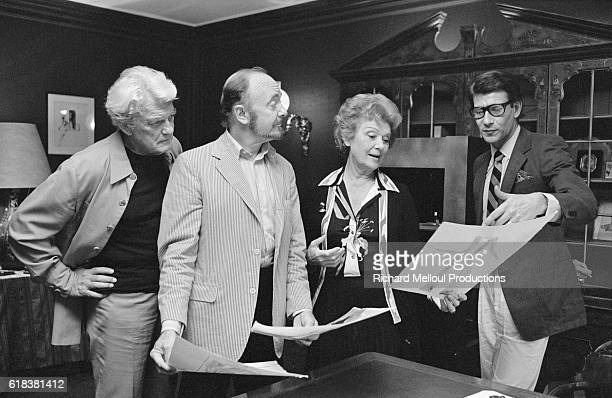 Actors Jean Marais Jerome Kilty and Edwige Feuillere meet with fashion designer Yves Saint Laurent to discuss his costume plans for an upcoming...