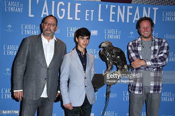 Actors Jean Reno and Manuel Camacho and director Gerardo Olivares attend the L'Aigle et l'enfant Paris premiere at Gaumont Capucines on June 19 2016...