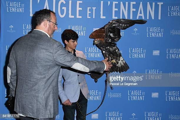 Actors Jean Reno and Manuel Camacho attend the L'Aigle et l'enfant Paris premiere at Gaumont Capucines on June 19 2016 in Paris France
