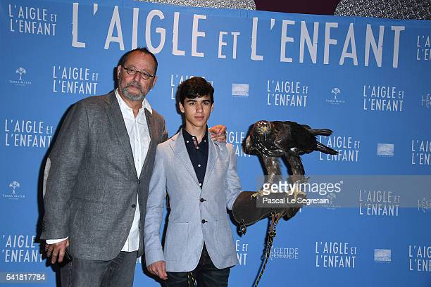 Actors Jean Reno and Manuel Camacho attend the L'Aigle et l'enfant Paris premiere at Gaumont Capucines on June 19 2016 in Paris France