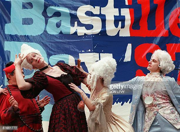 Actors Jean Suss Claudia Vorwaller Sophie Malleret and Suzanne Khuri play The Cardinal Catherine the Great Marie Antoinette and King George...
