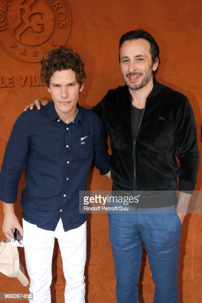 Actors JeanBaptiste Lafarge and Michael Cohen attend the 2018 French Open Day Seven at Roland Garros on June 2 2018 in Paris France