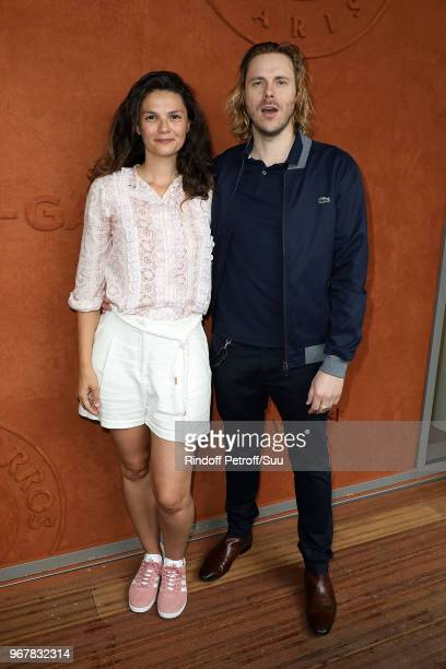 Actors JeanBaptiste Shelmerdine and Stephanie Pasperkamp attend the 2018 French Open Day Ten at Roland Garros on June 5 2018 in Paris France