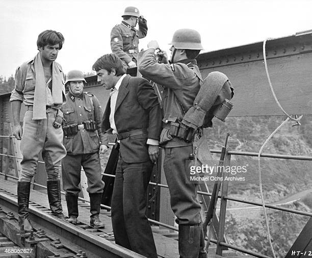 Actors JeanClaude Brialy and Gerard Blain on set of the movie Shock Troops circa 1967