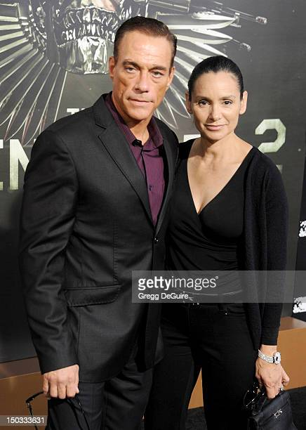 """Actors Jean-Claude Van Damme and wife Gladys Portugues arrive at Los Angeles premiere of """"The Expendables 2"""" at Grauman's Chinese Theatre on August..."""