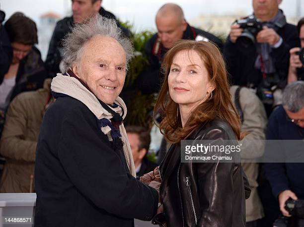 """Actors Jean-Louis Trintignant and Isabelle Huppert attend the """"Amour"""" Photocall during the 65th Annual Cannes Film Festival at Palais des Festivals..."""