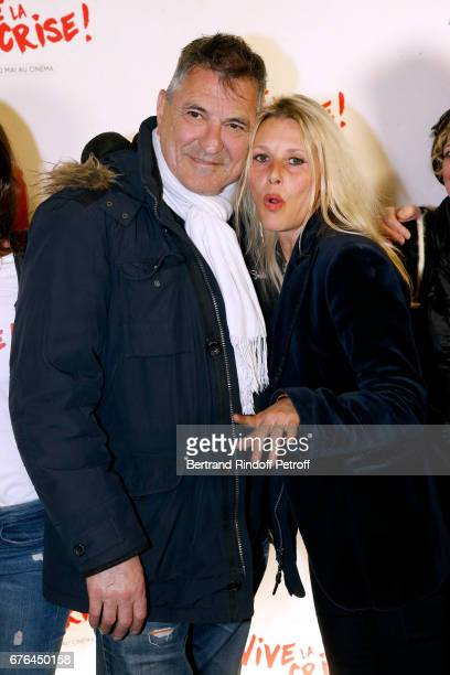 Actors JeanMarie Bigard and Florence Thomassin attend the 'Vive la Crise' Paris Premiere at Cinema Max Linder on May 2 2017 in Paris France