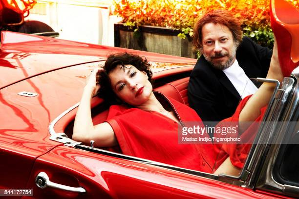 Actors Jeanne Balibar and Mathieu Amalric are photographed for Madame Figaro on July 6 2017 in Paris France Balibar Outfit shoes jewelry personal...