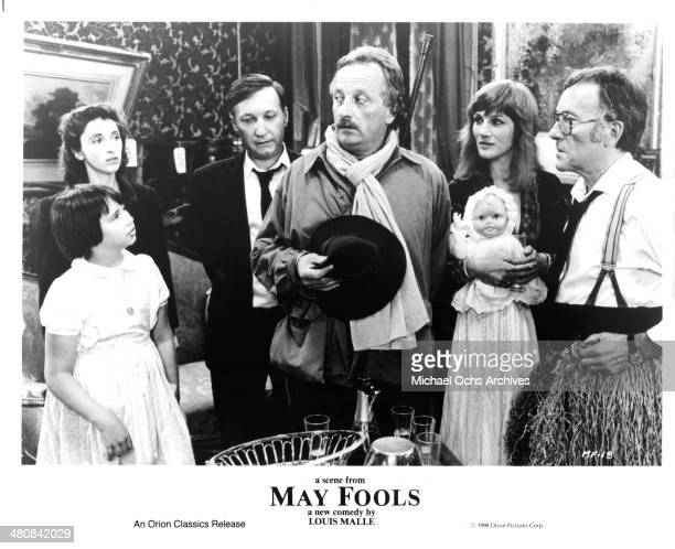 Actors Jeanne Herry Martine Gautier François Berleand Etienne Draber Harriet Walter and Michel Duchaussoy in a scene from the movie May Fools circa...