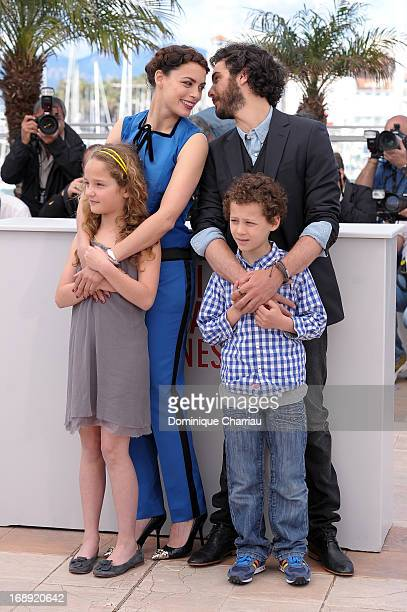 Actors Jeanne Jestin Berenice Bejo Tahar Rahim and Elyes Aguis attends the photocall for 'Le Passe' during the 66th Annual Cannes Film Festival at...