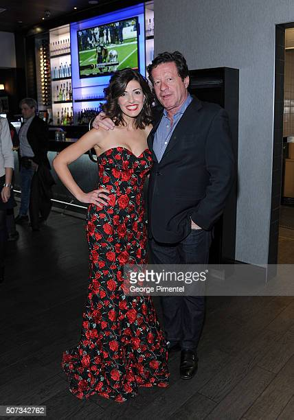 Actors Jeannette Sousa and Joaquim de Almeida attend the A Date With Miss Fortune Premiere at Cineplex Cinemas Yonge Dundas VIP on January 28 2016 in...