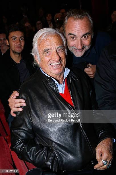 Actors JeanPaul Belmondo and Antoine Dulery attend the 'Ivo Livi ou le destin d'Yves Montand' Theater Play at Theatre de la Gaite Montparnasse on...