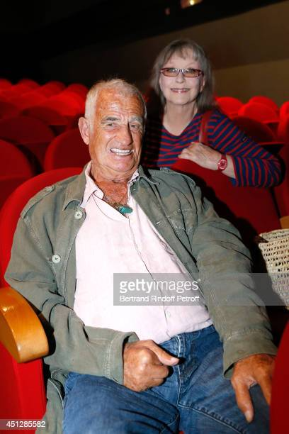 Actors JeanPaul Belmondo and Marina Vlady attend 'Le Cavalier seul' Theater Play at Theatre 14 on June 26 2014 in Paris France