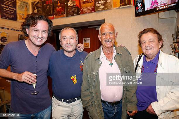 Actors JeanPaul Belmondo Mathias Marechal his father Marcel Marechal and Actor and director of the theater Emmanuel Dechartre backstage after 'Le...