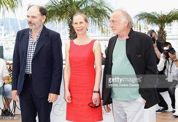 Actors JeanPierre Darroussin Kati Outinen and Blondin Miguel attend the 'Le Havre' photocall at the Palais des Festivals during the 64th Cannes Film...