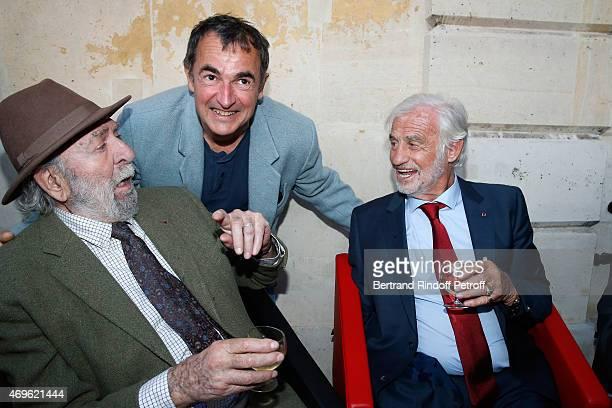 Actors JeanPierre Marielle Albert Dupontel and JeanPaul Belmondo attend Museum Paul Belmondo celebrates its 5th Anniversary on April 13 2015 in...