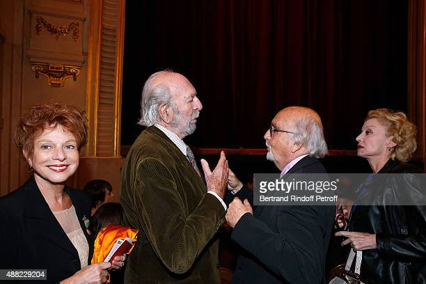 Actors JeanPierre Marielle and his wife Agathe Natanson with JeanLouis Livi and his wife Caroline Silhol attend 'Le Mensonge' Theater Play Held at...