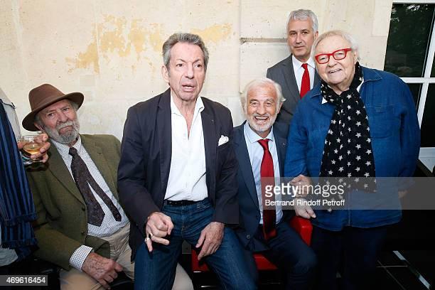 Actors JeanPierre Marielle Michel Creton JeanPaul Belmondo Mayor of Boulogne Billancourt PierreChristophe Baguet and Actor Roger Dumas attend Museum...